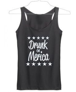 Drunk on Merica independence day tanktop gift