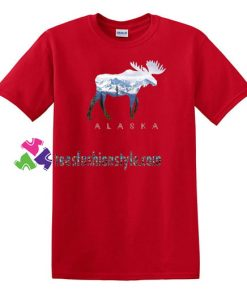 Alaska Day Moose Snowy Mountain T Shirt gift tees unisex adult cool tee shirts