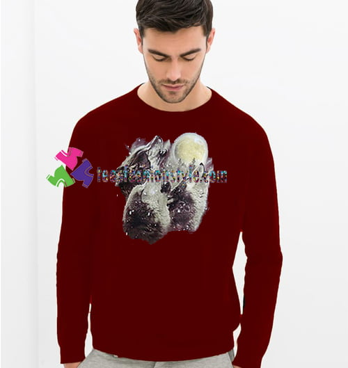 Three Wolves and Moon Sweatshirt Gift sweater adult unisex cool tee shirts
