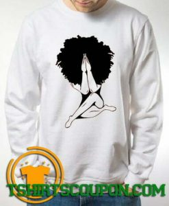 Afro woman praying Sweatshirt For Men and Women S-3XL