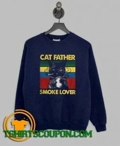 Cat Father Smoke Lover Vintage Retro Sweatshirt