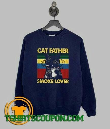 Cat Father Smoke Lover Vintage Retro Sweatshirt
