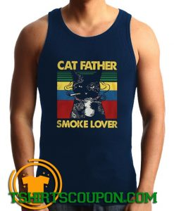 Cat Father Smoke Lover Vintage Retro Tank Top