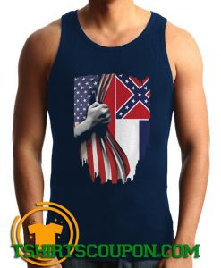 Mississippi And American Flag Tank Top For Men and Women S-3XL