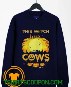 This Witch Loves Guinea Cows Pumpkin Halloween Sweatshirt