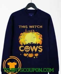 This Witch Loves Guinea Cows Pumpkin Halloween Sweatshirt